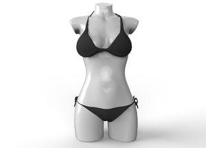 3d sexy black bikini