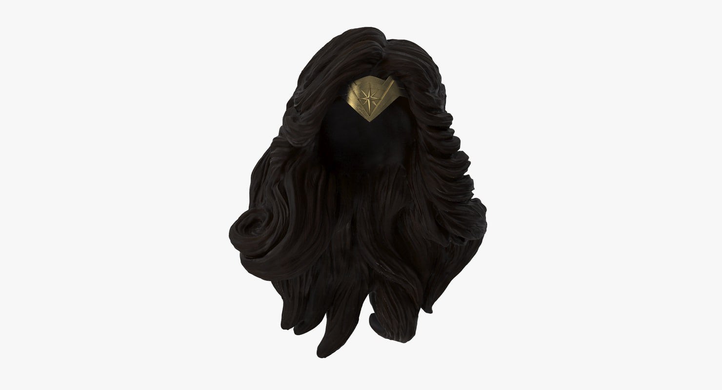 3d wonder woman hair headpiece model