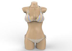 3d sexy colorful bikini