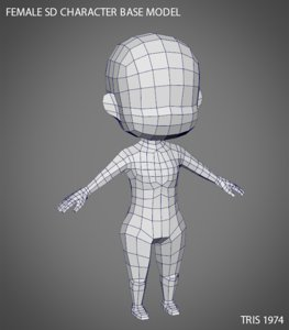 female sd character base 3d obj