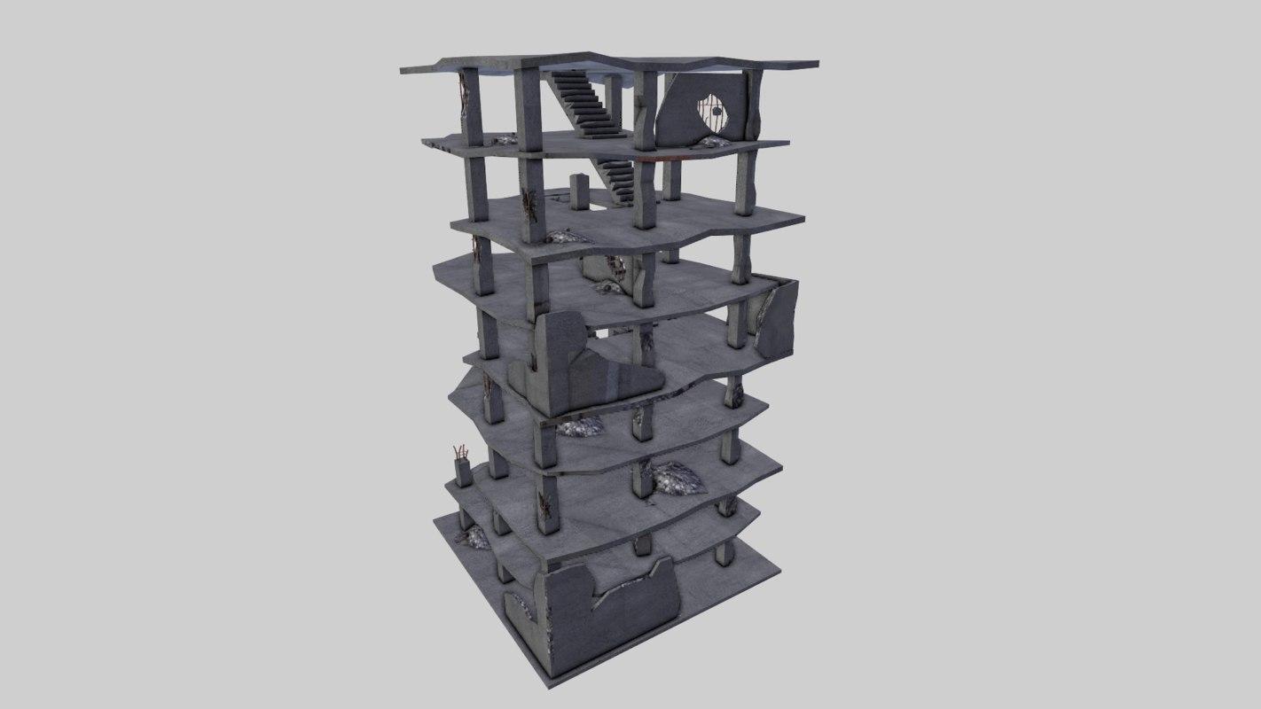 destroyed buildings post apocaliptic 3d model