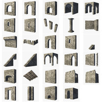 castle building set fantasy 3d blend