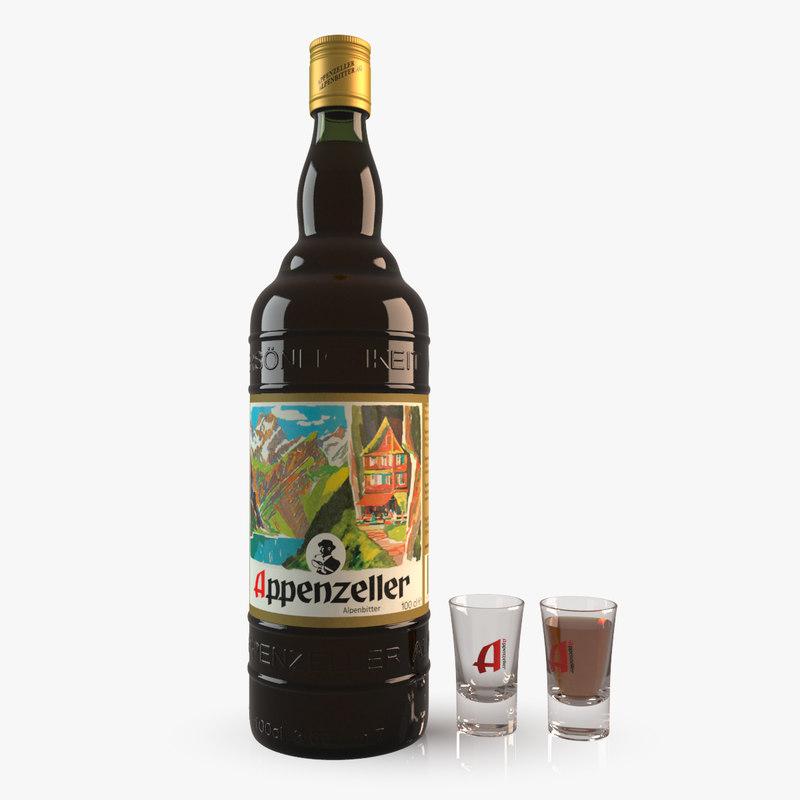 appenzeller bottle glass 3d max