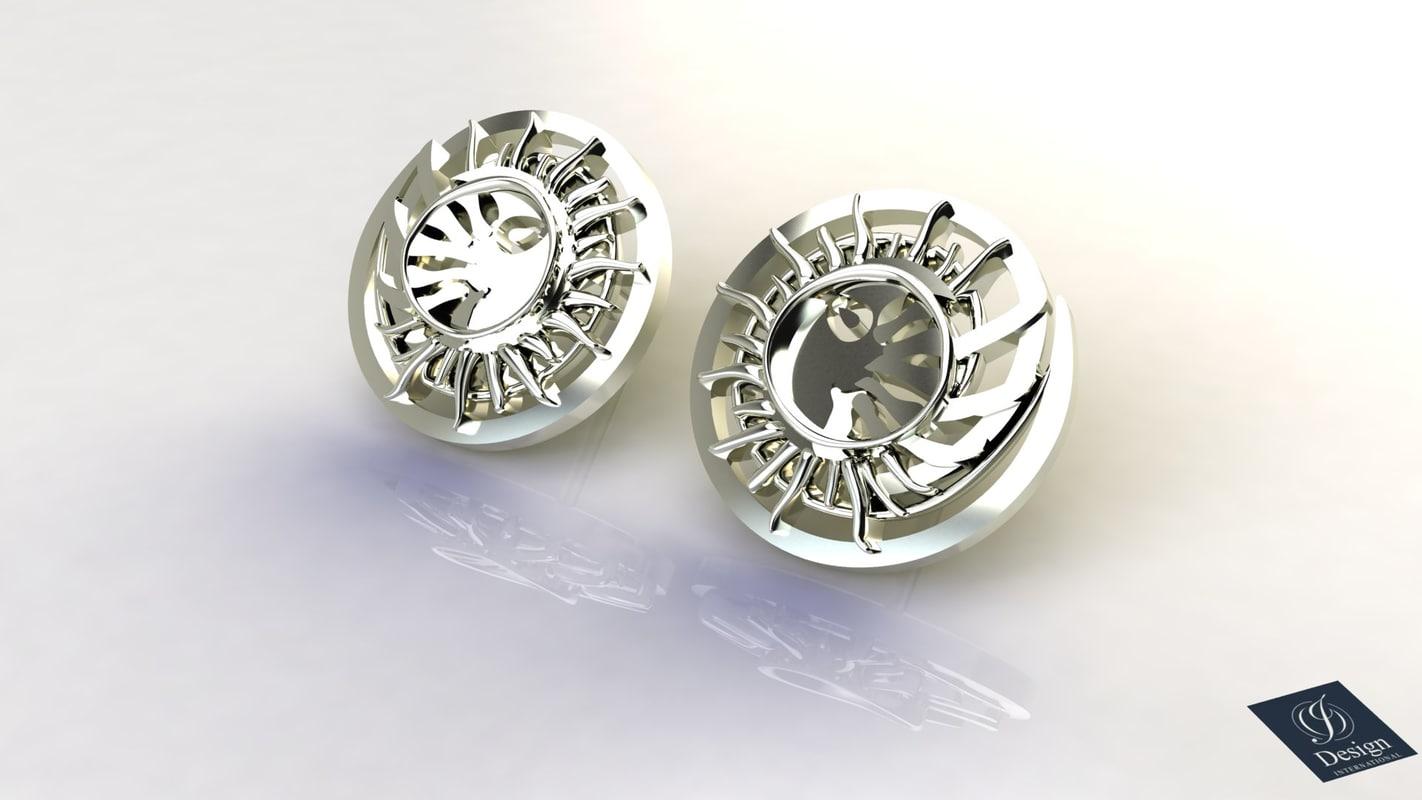 sun moon earrings 3ds