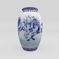 Chinese Blue and White Porcelain Vase - Horses
