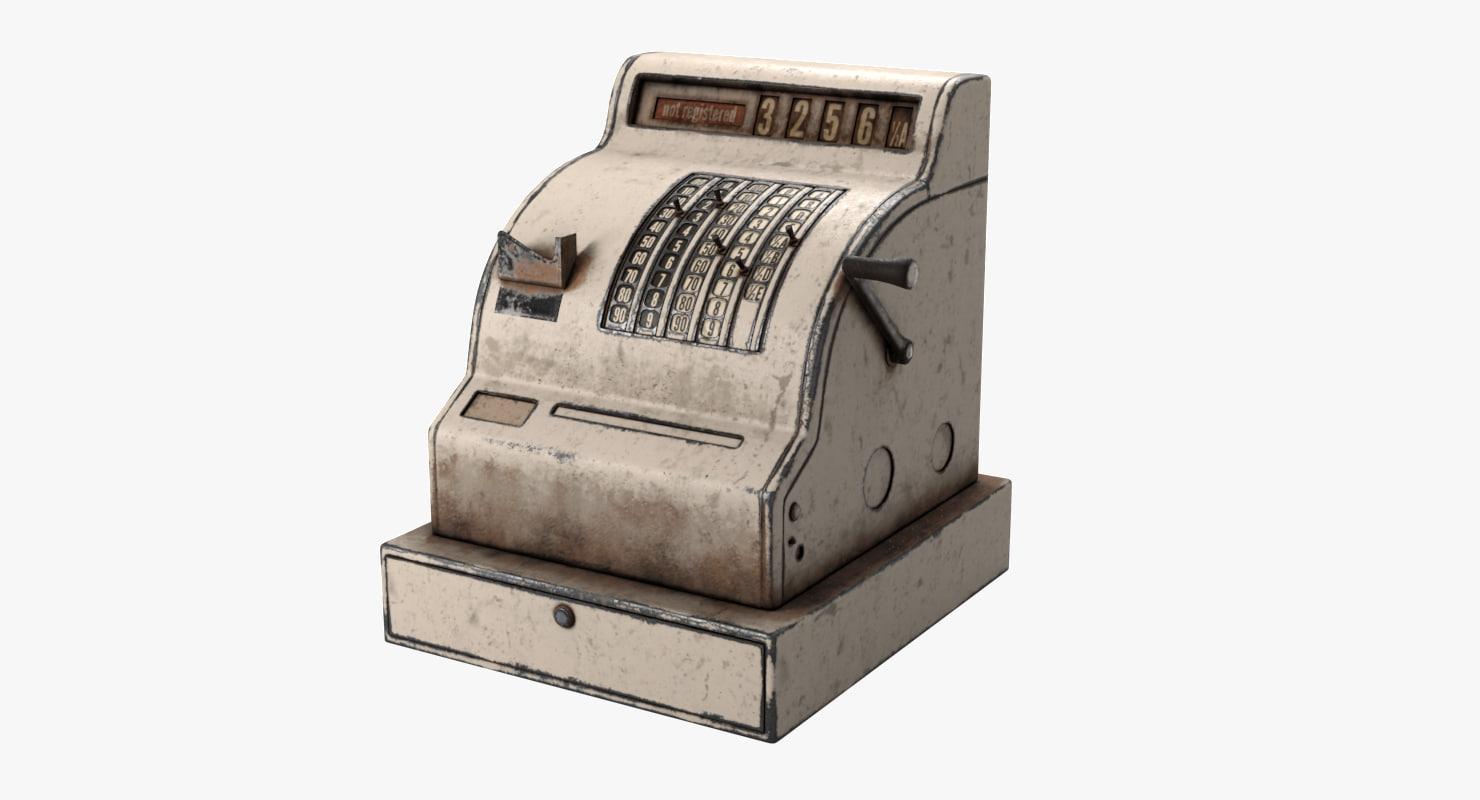 3d model old cash register