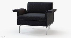 3d model teknion studio envitta lounge chair