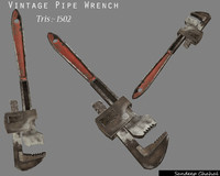 obj vintage pipe wrench