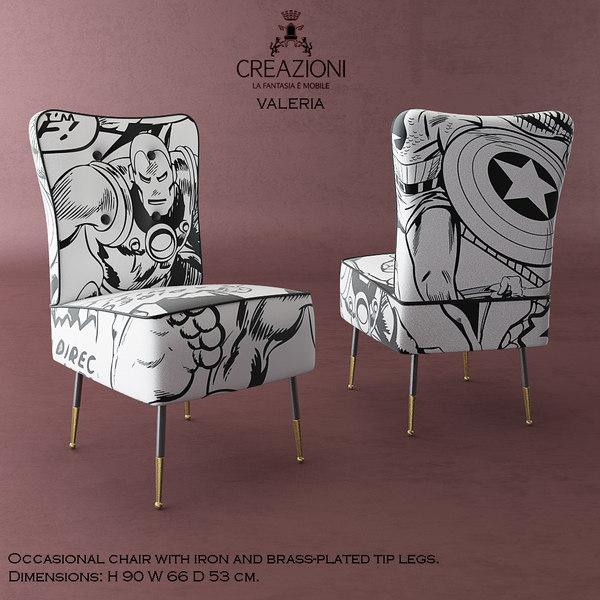 3d model creazioni valeria dining chair