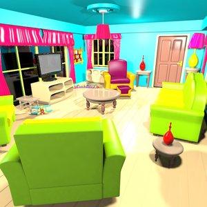 max cartoon living room