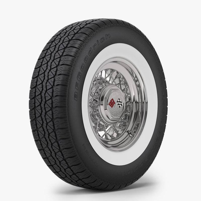 3d realistic classic wire wheel model