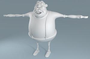 cartoon fat man 3d lwo