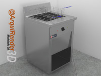3d fryer restaurants model