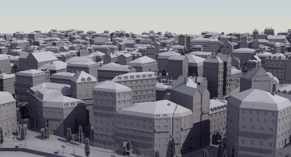european city mass modeled 3d model