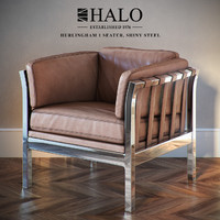 Hurlingham Shiny Steel Armchair, Halo est. 1976