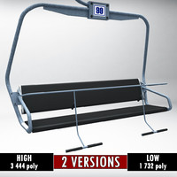 ski lift chair polys 3d model