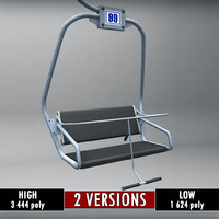 Ski lift chair small low poly