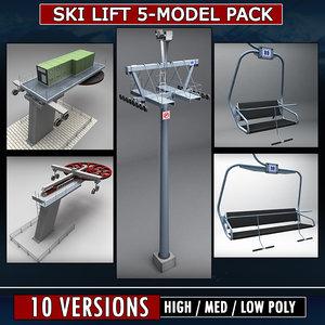 3d 3ds pack ski lift