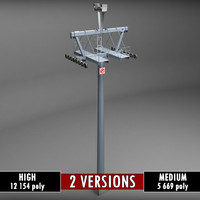 Ski lift mountain pole medium high poly