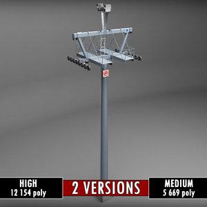 medium ski lift poles 3d model