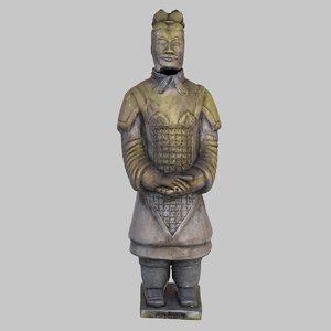 3ds terracotta warrior weathered