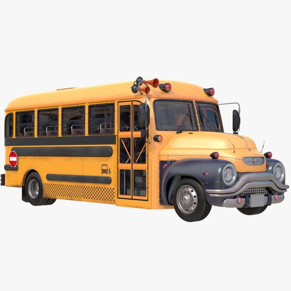 school bus rigged 3d obj