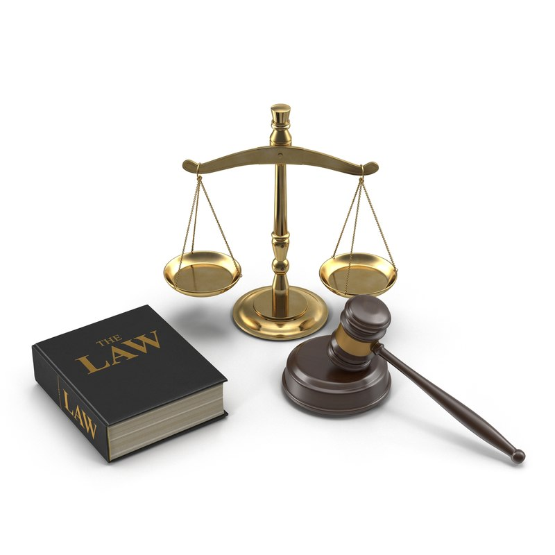 3d legal gavel scales law model