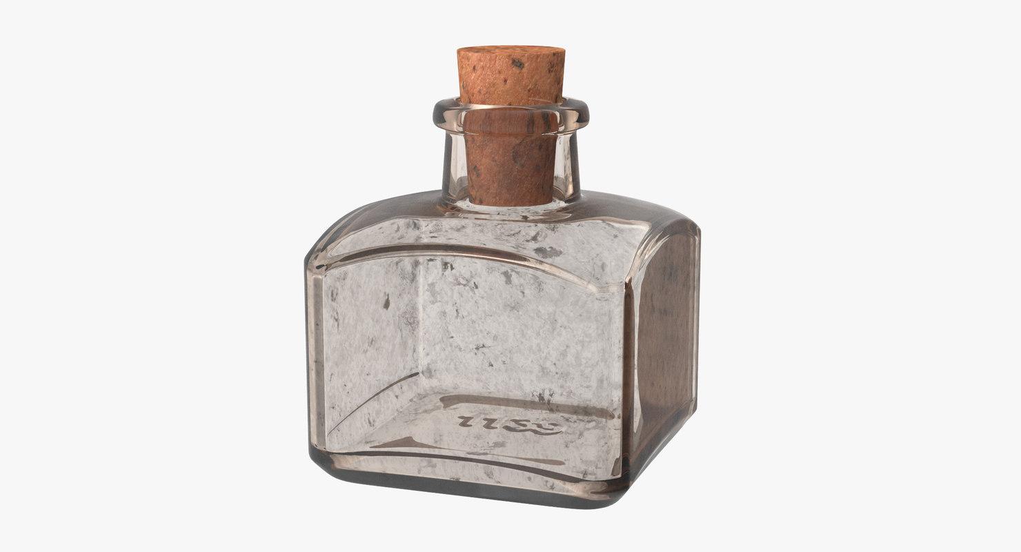 old glass bottle 04 3d model