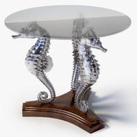table sea horse 3d model