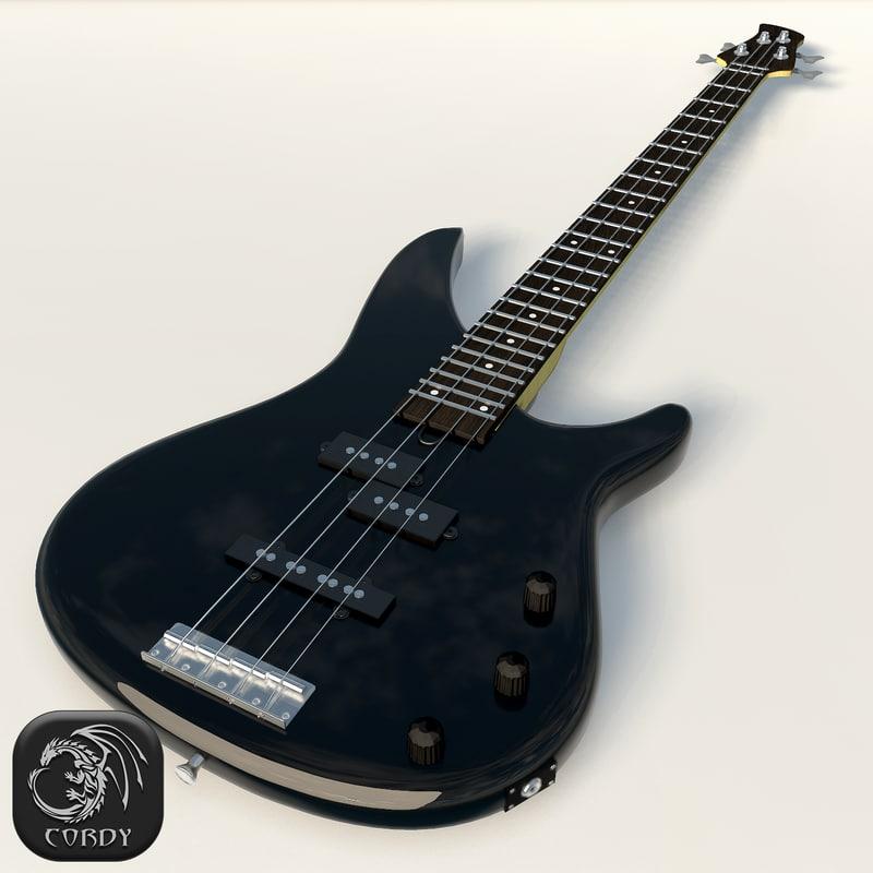 3d realistic bass guitar yamaha model