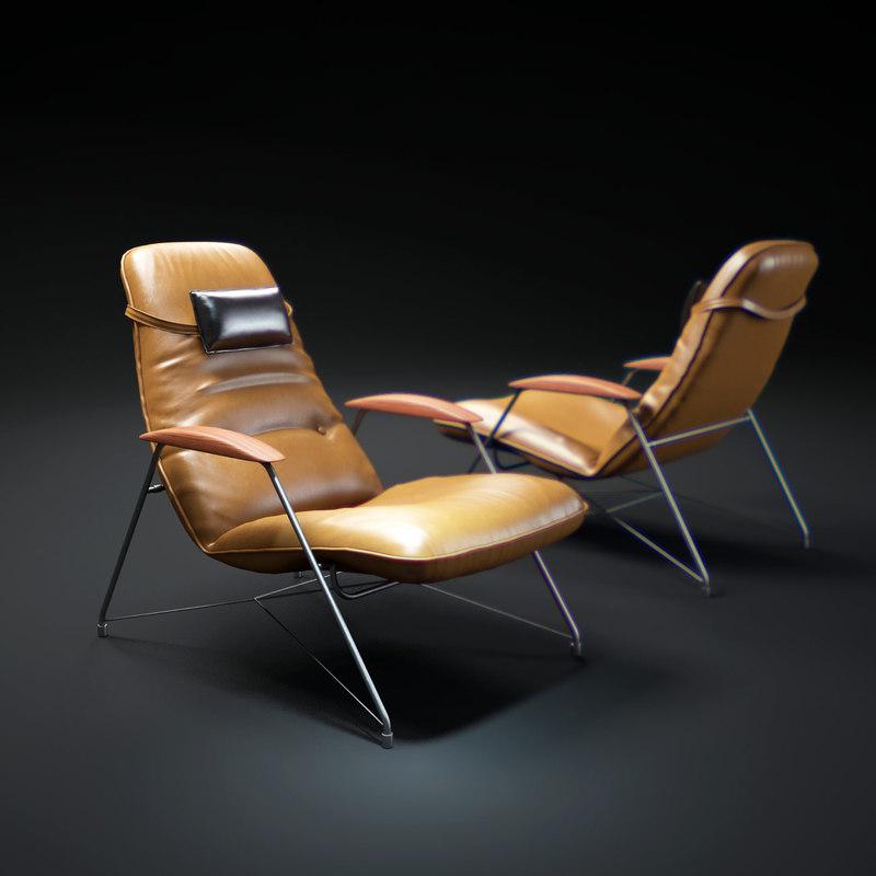 3d model brazilian-lounge-chair-carlo-hauner