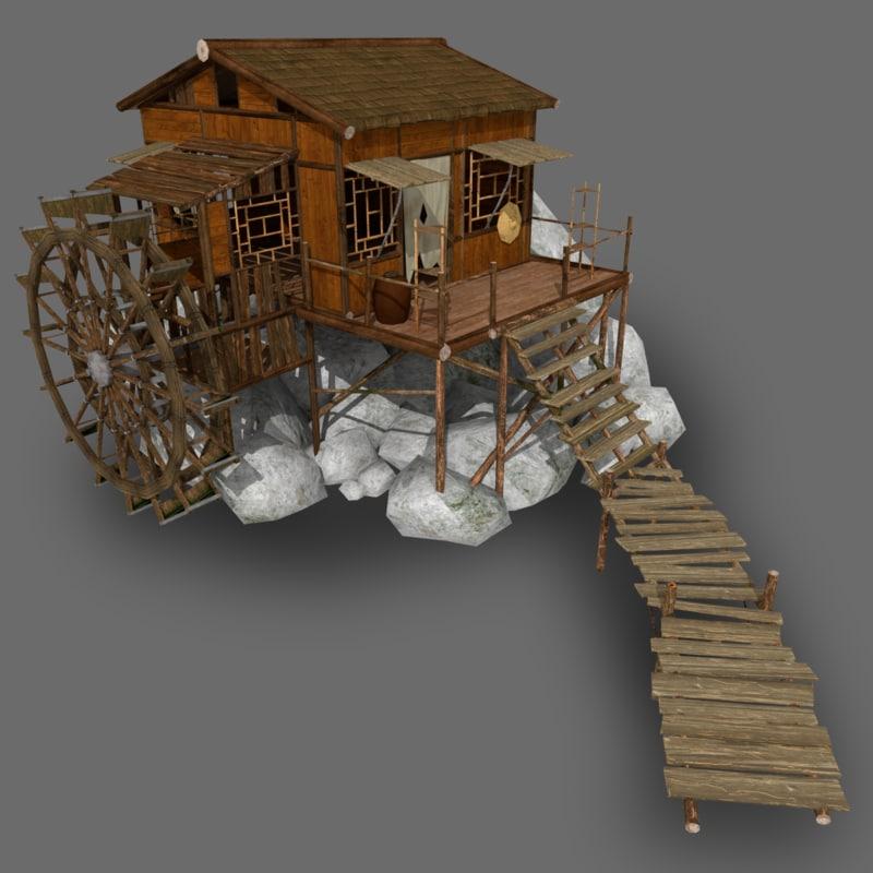 stylized watermill 3d model