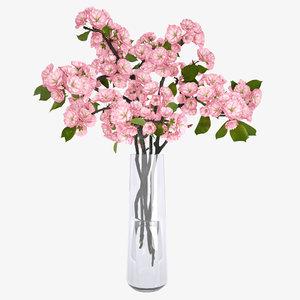 sakura vase flower 3d model