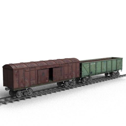 freight railroad rails 3d model