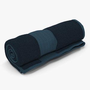 3d model rolled towel blue