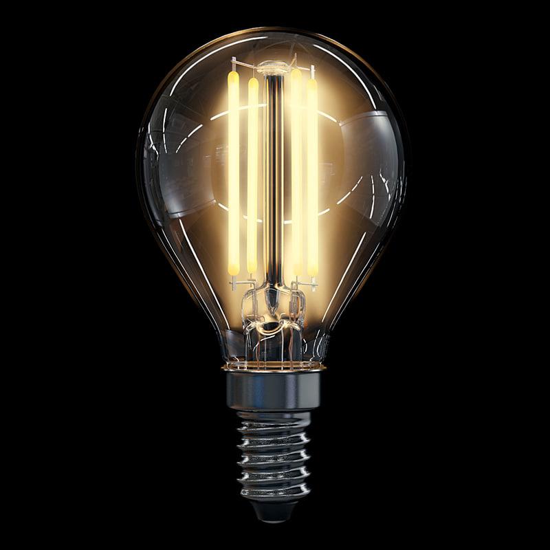 led filament bulb lights 3d model