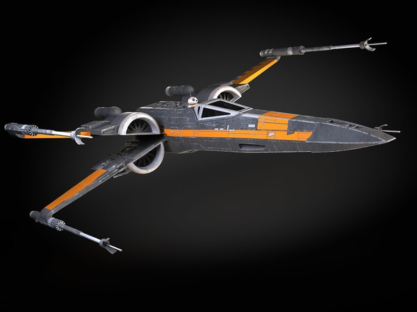 3d x-wing fighter black model