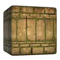 Mossy Mayan Brick Wall