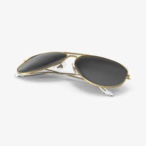 aviator sunglasses folded 3d model
