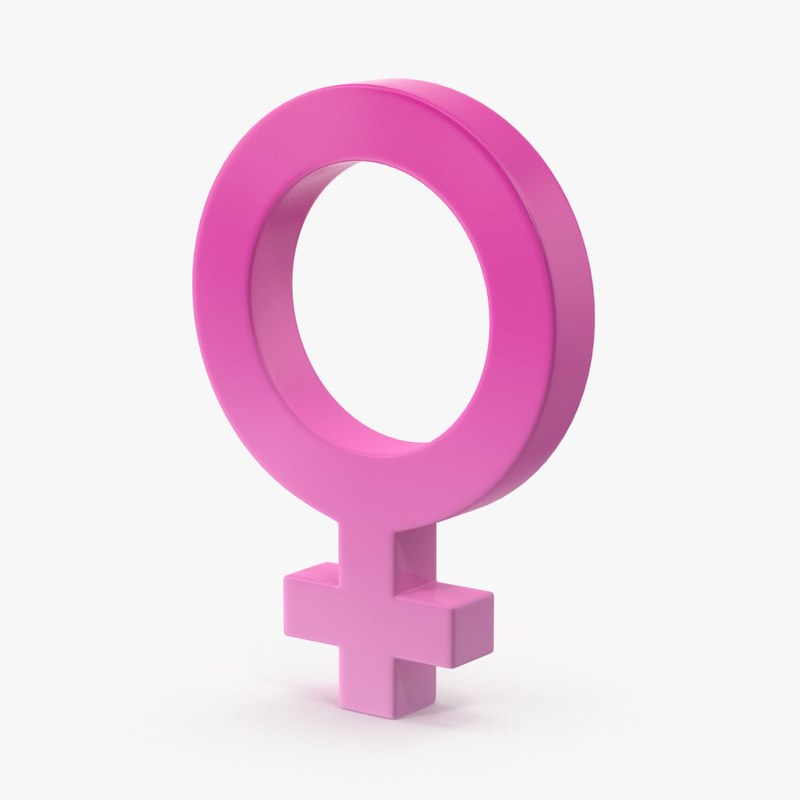 3d model female gender symbol
