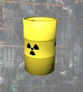free barrel radioactive 3d model