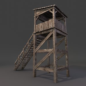 3d model wooden guard tower