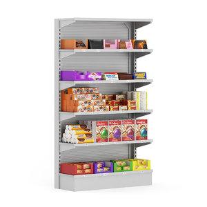 3d supermarket shelf cookies chocolates