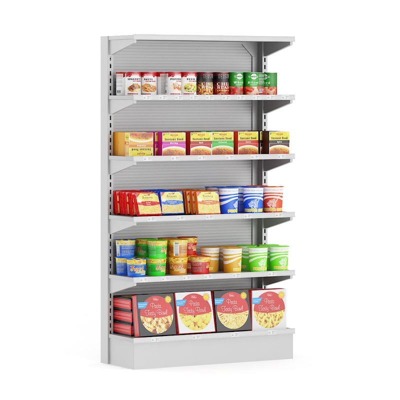 3d model supermarket shelf instant