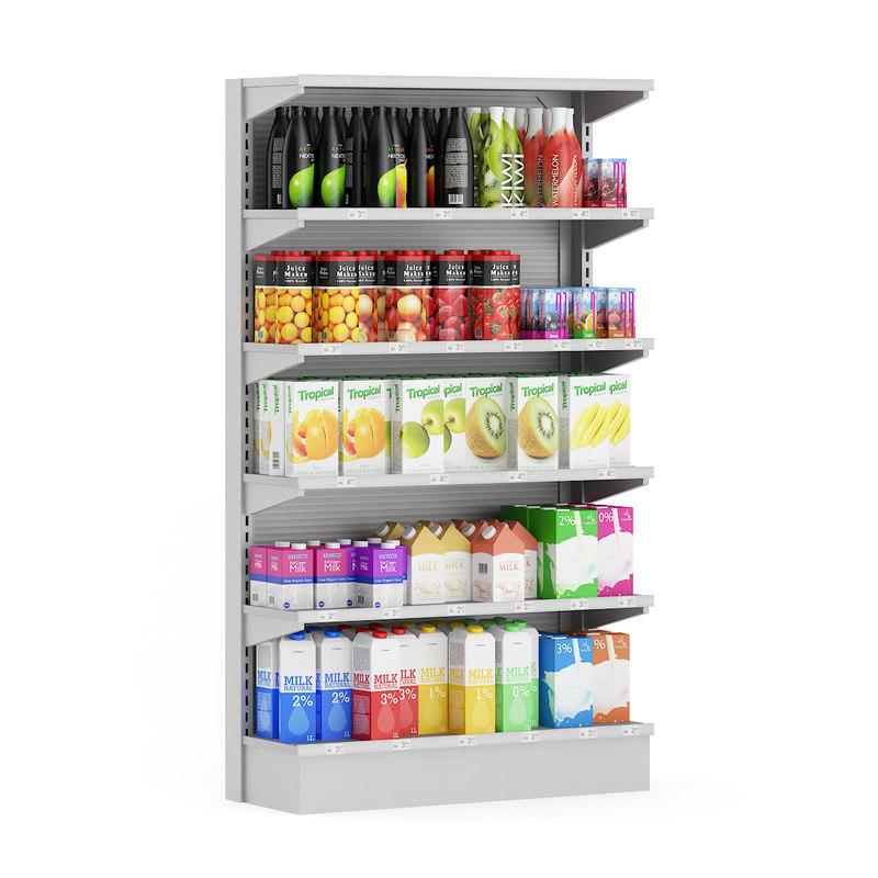 max supermarket shelf milk juices