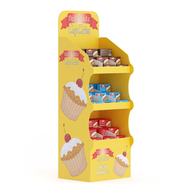 3d supermarket shelf cupcakes model