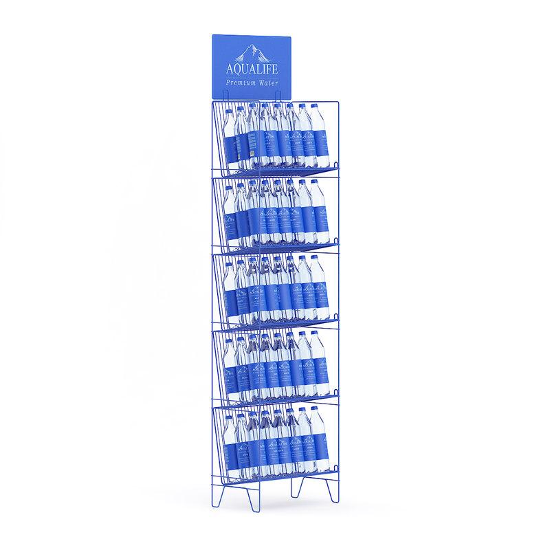 3d supermarket rack water bottles