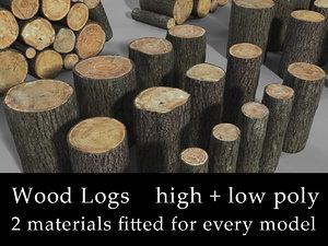 3ds wooden logs