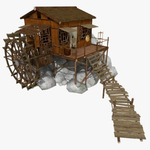 stylized watermill 3d model