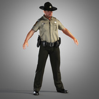 county police officer 3d obj